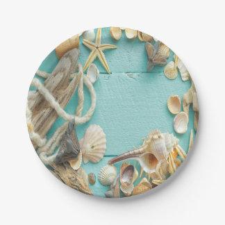 seashell, vintage, collage, turquesa, moda, de plato de papel de 7 pulgadas