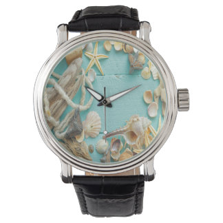 seashell, vintage, collage, turquesa, moda, de relojes de pulsera