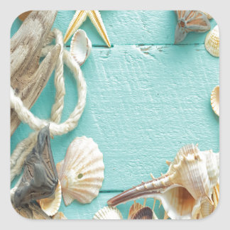 seashell,vintage,collage,turquoise,chic,trendy,fun square stickers