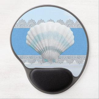 Seashell y cordón azules suaves alfombrilla de raton con gel