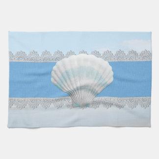Seashell y cordón azules suaves toalla