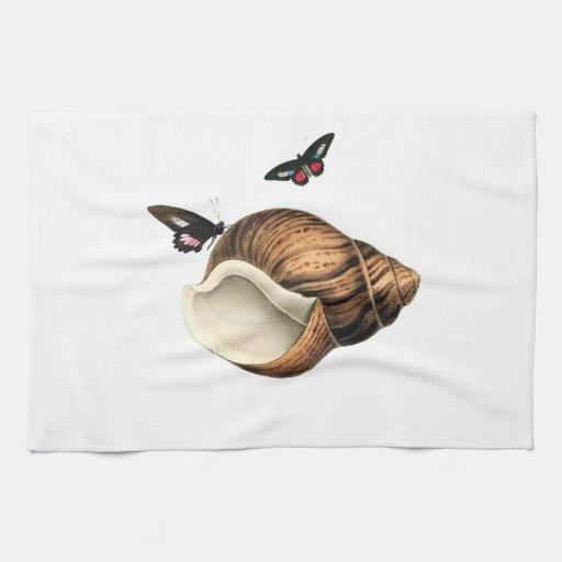 Seashell y mariposas toalla de cocina