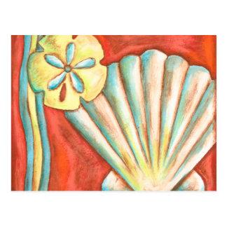 Seashells anaranjados rústicos postal