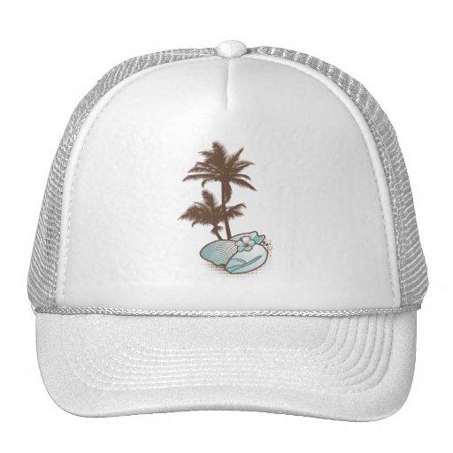seashells and palmtree 1 blue trucker hat
