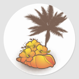 seashells and palmtree 4 orange sticker