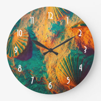 Seashells and Sand in Green and Orange Large Clock