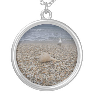 Seashells and Sea Gulls Silver Plated Necklace