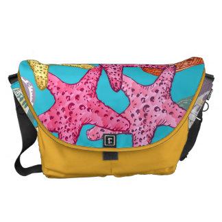 Seashells and sea stars messenger bag