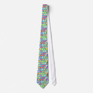 Seashells and sea stars neck tie