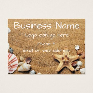 Beach Themed Seashells and Starfish in the Sand Business Card