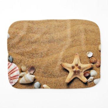 Beach Themed Seashells and Starfish on Beach Burp Cloth