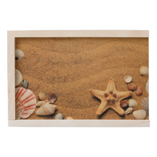 Seashells and Starfish on Beach Wooden Keepsake Box
