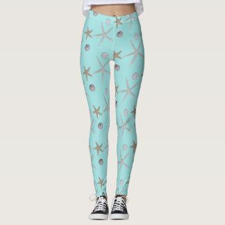 Seashells and starfish on teal leggings
