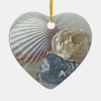 Seashells and Surf Double-Sided Heart Ceramic Christmas Ornament