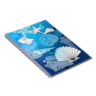 Seashells Aqua Notebook