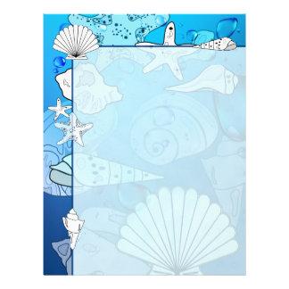 Seashells Aqua Ocean Letterhead Stationery