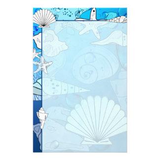 Seashells Aqua Ocean Stationery