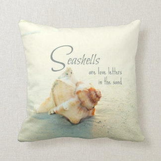 Seashells are Love Letters Quote Pillow