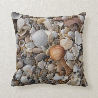 Seashells at the Sea Shore Throw Pillow