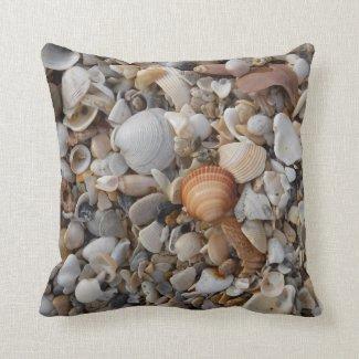 Seashells at the Sea Shore Throw Pillow
