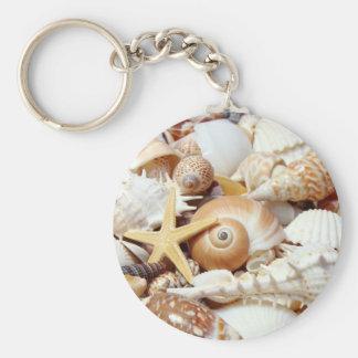 Seashells Basic Round Button Keychain