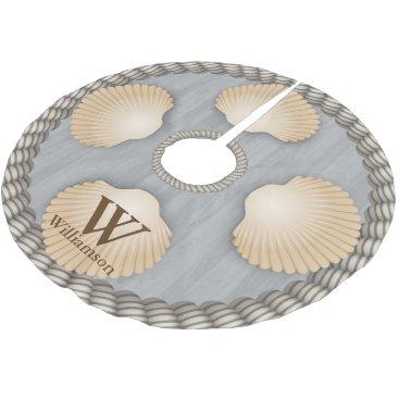 Beach Themed Seashells Beach Grey Planks White Ropes Monogram Brushed Polyester Tree Skirt