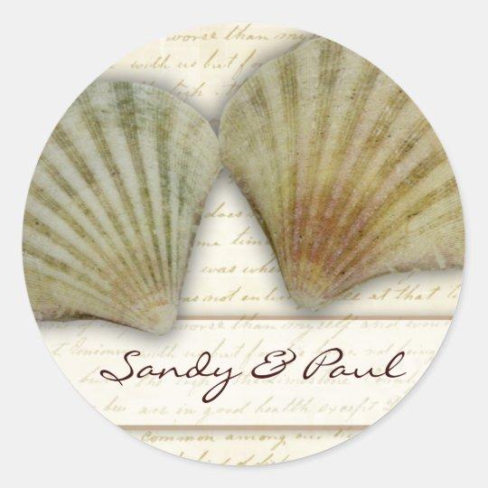 Seashells - beach love classic round sticker