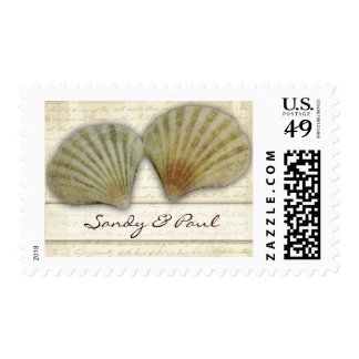 Seashells - beach love postage stamps