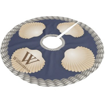 Beach Themed Seashells Beach Navy Blue & White Ropes Monogram Brushed Polyester Tree Skirt