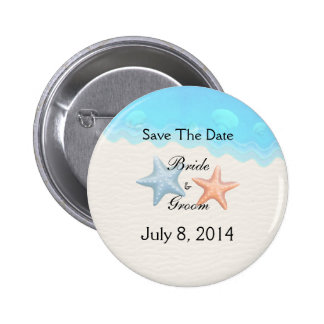 Seashells Beach Save The Date Pinback Button