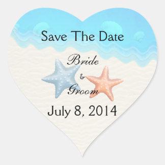 Seashells Beach Save The Date Heart Sticker