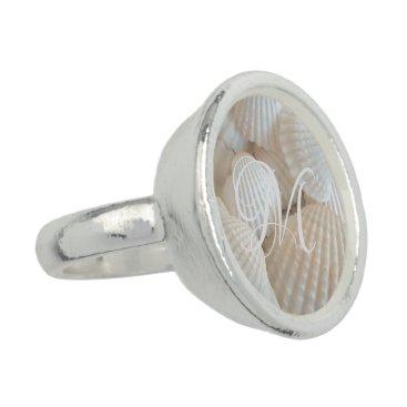 Wedding Themed Seashells Beach Shells Photography Monogrammed Ring