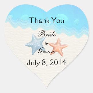 Seashells Beach Thank You Heart Sticker
