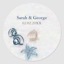 Seashells beach wedding favors stickers