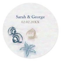 Seashells beach wedding favors stickers