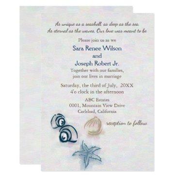Seashells Beach wedding invitation