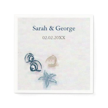Seashells beach wedding personalized napkin