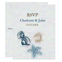 seashells Beach wedding rsvp Card