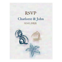 seashells Beach wedding rsvp Postcard