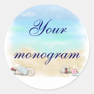 Seashells Beach Wedding Theme Envelope Seals Label