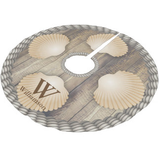 Seashells Beach Wooden Planks White Ropes Monogram Brushed Polyester Tree Skirt