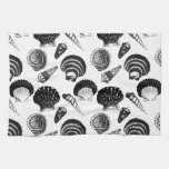Seashells - black and white on a white background towel