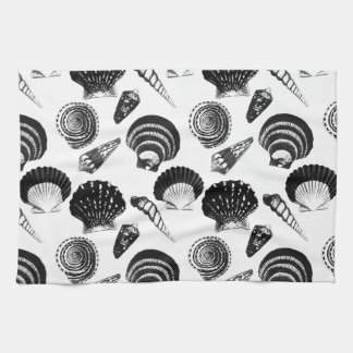 Seashells - black and white on a white background hand towel