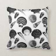 Seashells - black and white on a white background throw pillow