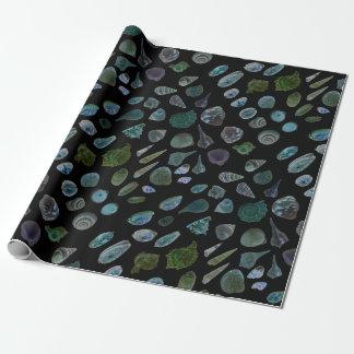 Seashells Black Glossy Matte Wrapping Paper