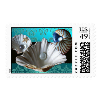 SEASHELLS BLUE AQUAMARINE DAMASK BEACH WEDDING POSTAGE