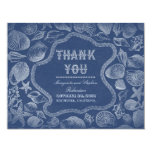 seashells blue beach wedding thank you cards