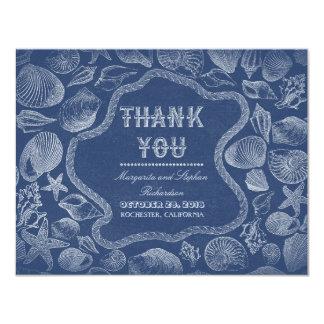 seashells blue beach wedding thank you cards