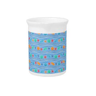 Seashells blue sea pattern beverage pitcher