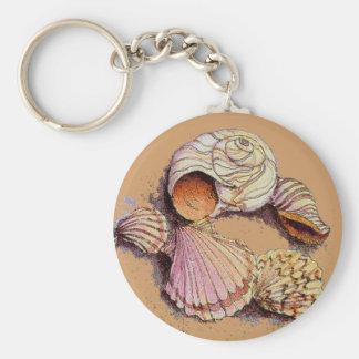 SEASHELLS by SHARON SHARPE Basic Round Button Keychain